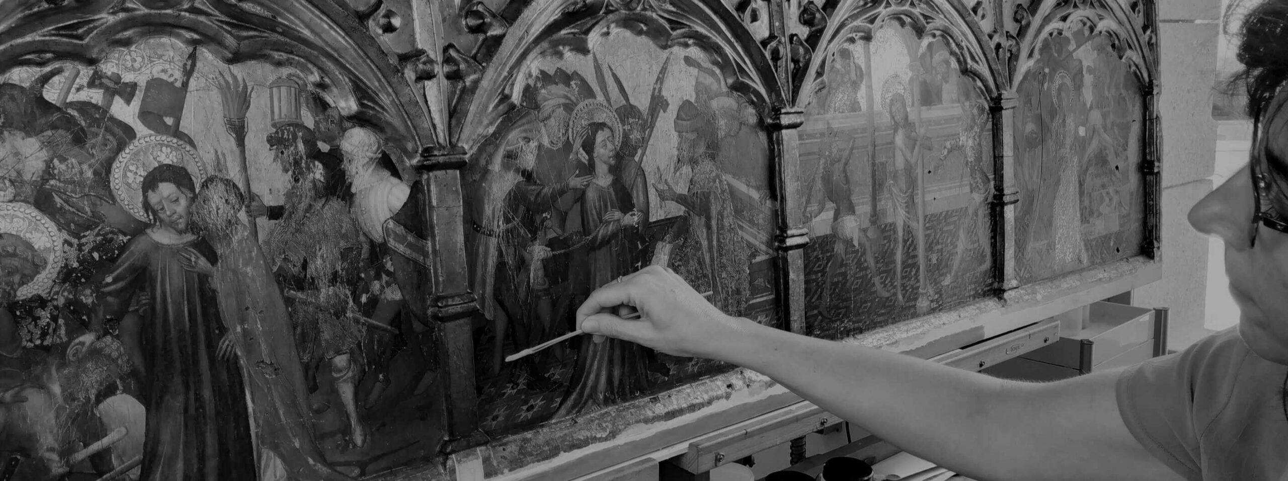 visita didáctica restauración retable de la Ploma en museo de bellas artes de valencia